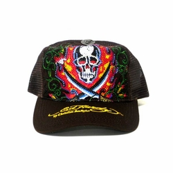 Ed Hardy by Christian Audigier PIRATE SKULL Platinum hat in Brown