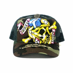 Ed Hardy by Christian Audigier DEATH OR GLORY Platinum hat in camo/green