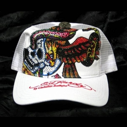 Ed Hardy by Christian Audigier NEW YORK CITY Platinum hat in white