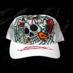 Ed Hardy by Christian Audigier CATCHER Platinum hat cap in white $143