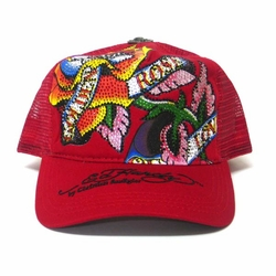 "Ed Hardy by Christian Audigier ""ETERNAL LOVE"" Platinum Hat in Red"