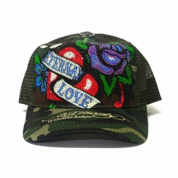 "Ed Hardy by Christian Audigier ""ETERNAL LOVE"" Platinum hat in camo"