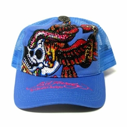 Ed Hardy by Christian Audigier NEW YORK CITY PLATINUM hat in blue