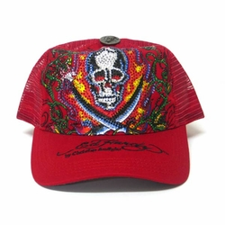 Ed Hardy by Christian Audigier SKULL SWORD Platinum Trucker Hat in Red