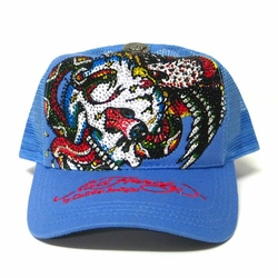 Ed Hardy by Christian Audigier BATTLE Platinum Trucker Hat in Blue
