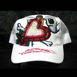 "Ed Hardy by Christian Audigier ""SKULL IN LOVE"" Platinum Stone Hat In White"