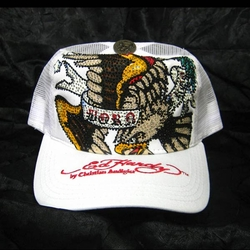 Ed Hardy by Christian Audigier BORN FREE Trucker hat cap in White