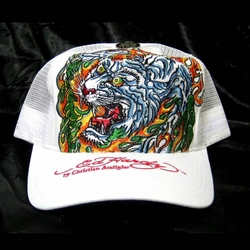 Ed Hardy by Christian Audigier FLAMING TIGER Trucker hat cap in White