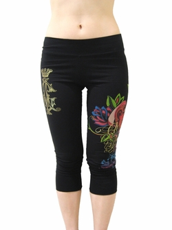 "Christian Audigier Womens ""DAGGER"" Leggings in Black"