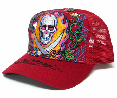"<font color=""#FF0000"" face=""Arial Black"" size=""4""><b>SPECIAL SALE</b></font>Ed Hardy PIRATE SKULL Hat Cap in REd"