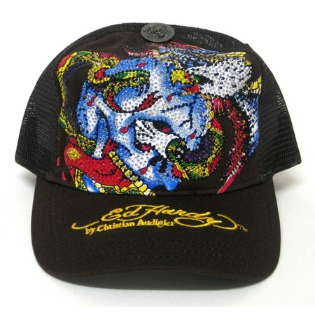 Ed Hardy by Christian Audigier  BATTLE PLATINUM CRYSTAL hat cap in brown