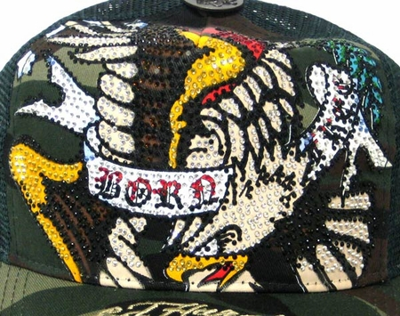 Ed Hardy by Christian Audigier  BORN FREE PLATINUM CRYSTAL cap hat in camo/green