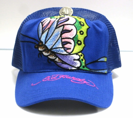 """<p><font color=""""#FF0000"""" face=""""Arial Black"""" size=""""4""""><b>NEW </b></font>Ed Hardy Christian Audigier BUTTERFLY cap blue"""