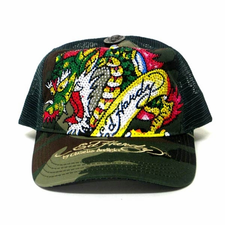 Ed Hardy by Christian Audigier DRAGON Platinum hat in camo/green