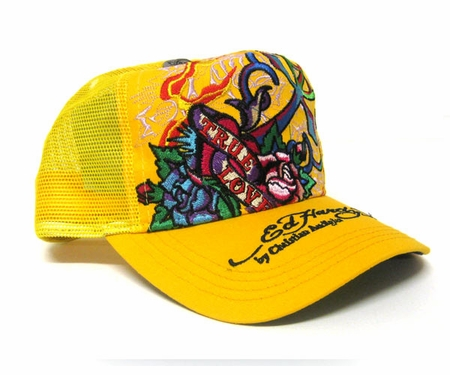 Ed Hardy by Christian Audigier LOVE KILLS SLOWLY trucker Hat Cap in Yellow