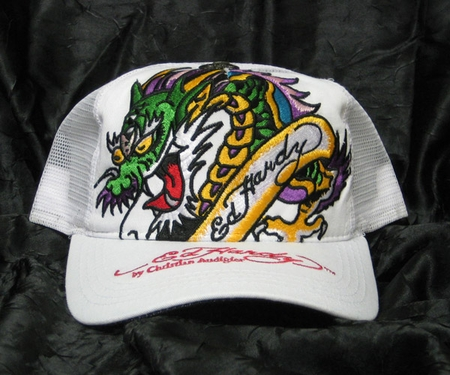 Ed Hardy DRAGON Hat Cap in White