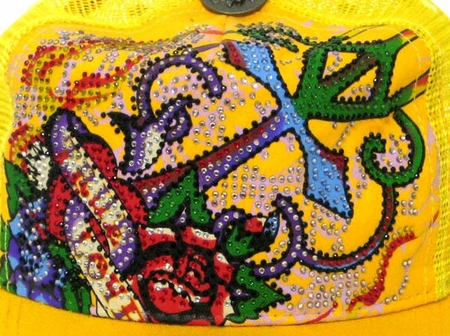 Ed Hardy by Christian Audigier TRUE LOVE Platinum Crystal hat in yellow
