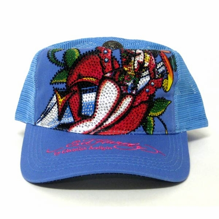 Ed Hardy by Christian Audigier  SEXY DEVIL Platinum Crystal hat in blue
