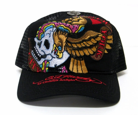 Ed Hardy BATTLE Trucker Hat Cap in Black