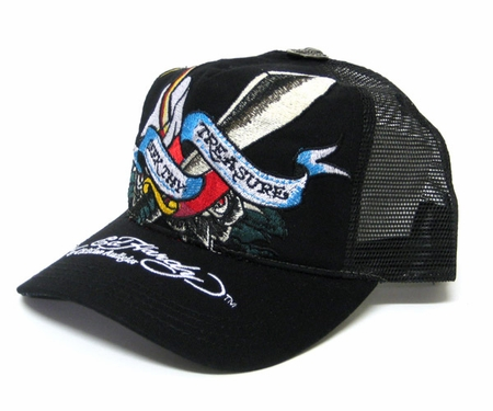 Ed Hardy SEEK THY TREASURE Hat Cap in Black