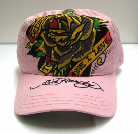 """<p><font color=""""#FF0000"""" face=""""Arial Black"""" size=""""4""""><b>NEW </b></font>Ed Hardy DEDICATED TO ONE I LOVE cap hat PINK"""
