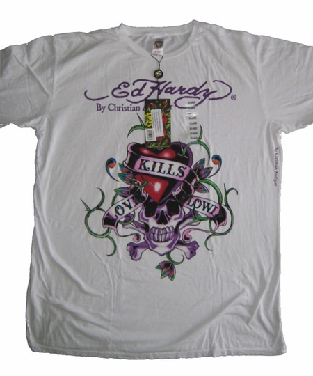 "<font color=""#FF0000"" face=""Arial Black"" size=""4""><b>HOT SALE</b></font>Ed Hardy LOVE KILLS SLOWLY mens TEE white"