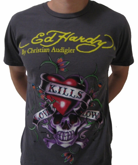 """<font color=""""#FF0000"""" face=""""Arial Black"""" size=""""4""""><b>HOT SALE </b></font>Ed Hardy LOVE KILLS SLOWLY Mens tee charcoal"""