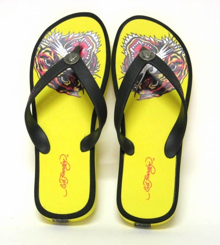 "Ed Hardy by Christian Audigier Mens ""TIGER"" Flip Flop Sandal in Yellow/Black"