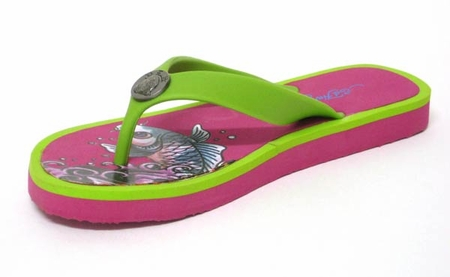 "Ed Hardy by Christian Audigier Women ""KOI"" Flip Flop Sandal in Fushia/green"