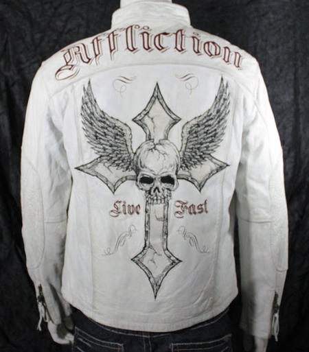 affliction live fast leather jacket
