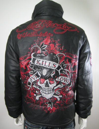 ed hardy puffer leather jacket