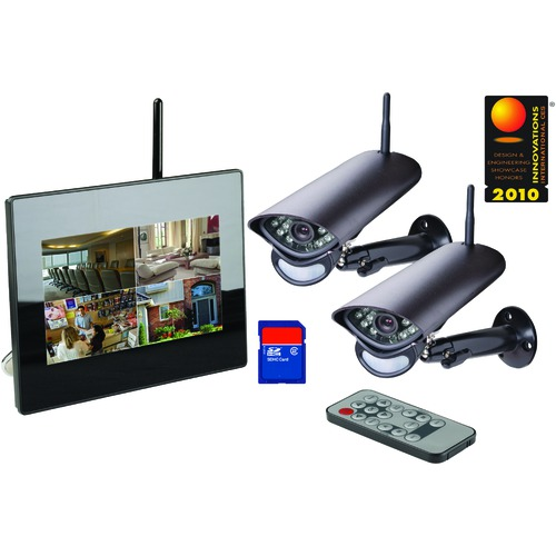 Wireless LCD Surveillance System w/ DVR + 2 Indoor/Outdoor/Night Cams