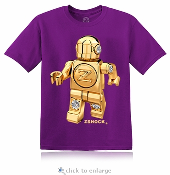Gold Diamond ZBot Robot Purple T-Shirt