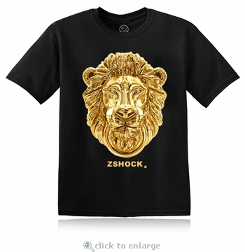 Gold Zar Lion Head Black T-Shirt