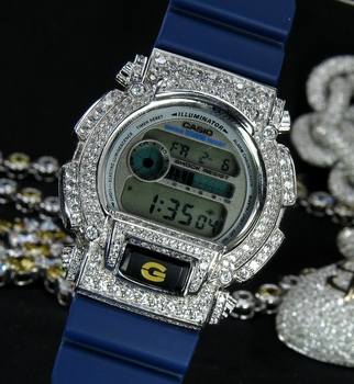 Iced out Z-Shock Bezel on a Blue G-Shock