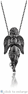 Guardian Angel Charm by ZShock in Silver with Black Platinum Finish
