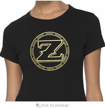 Ladies ZShock Jewelry Company Icon Logo T-Shirt Black And Gold