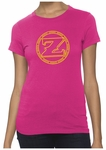 Ladies ZShock Icon Logo T-Shirt Pink And Yellow