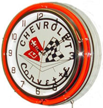 "18"" Corvette Neon Clock - Crossed Flags"