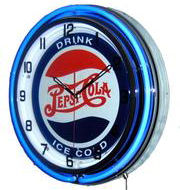 "18"" Pepsi Neon Clock - Drink Ice Cold"