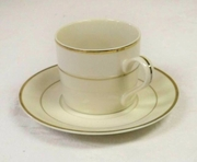 Gold Rim Coffee Cup with Saucer