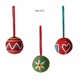 Dot, Star and Heart Ornaments, Set of 3 - SOLD OUT - Click to enlarge