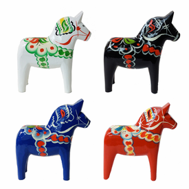 Traditional Swedish Wooden Dala Horse - Blue