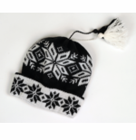 Original Selbu Norwegian Child's Cap with Tassels - Black & White