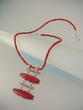 Modern Red Coral Sterling Silver Pendant Necklace