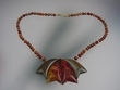Picasso  Jasper & Vermeil Pendant  Beaded  Necklace