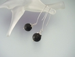 Contemporary Lava Rock Sterling Silver Earrings