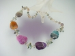Mixed Color Agate and Crystal Beaded Necklace
