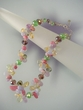 Mixed Gemstone  &  Sterling Silver Graduated Beaded Nesklace