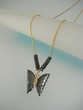 Black Hematite Butterfly Pendant Necklace